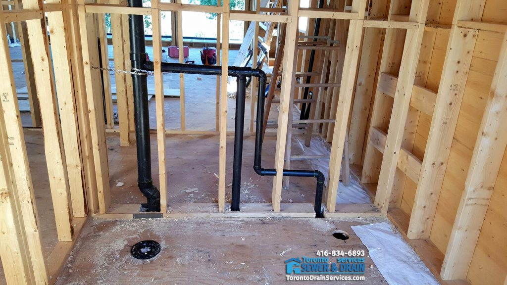 Drain pipes installation for new construction project in Toronto by Mister Plumber